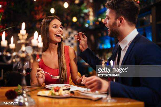 Couple having romantic dinner in a restaurant