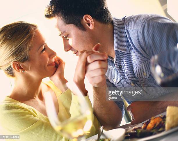 Couple having romantic dinner.