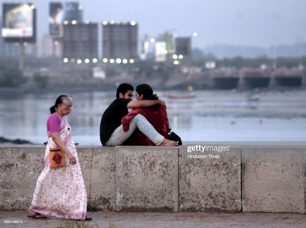 A couple having romantice time at the Bandra Reclamation area.
