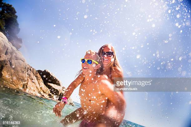 Couple Having Summer Fun at beach
