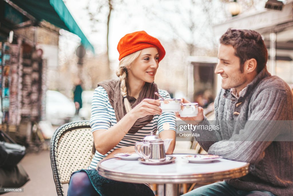 Couple having tea in cafe in Paris : Stock Photo