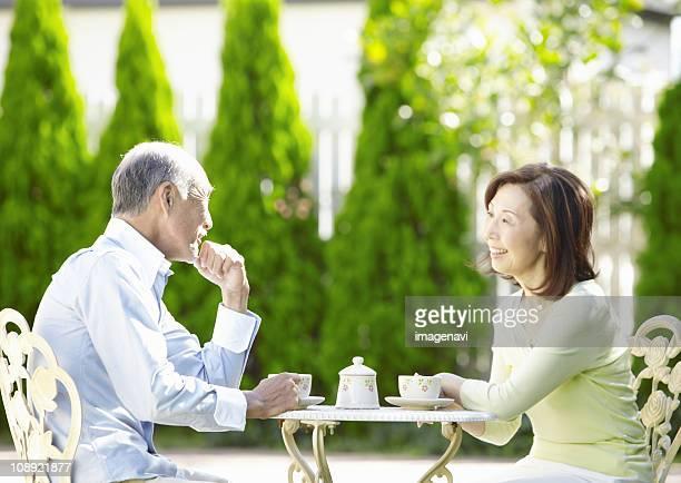 Couple having teatime