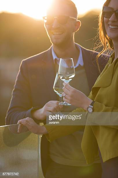 Couple having wine together