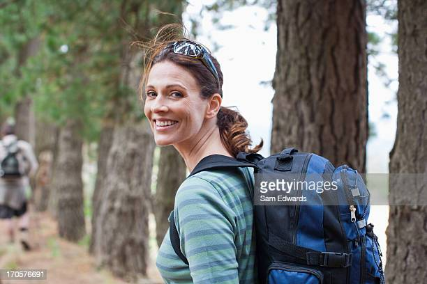 couple hiking in forest - 35 39 years stock pictures, royalty-free photos & images