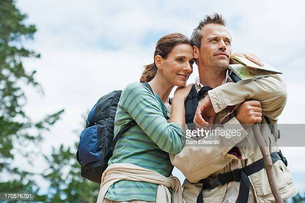 Couple hiking in remote area