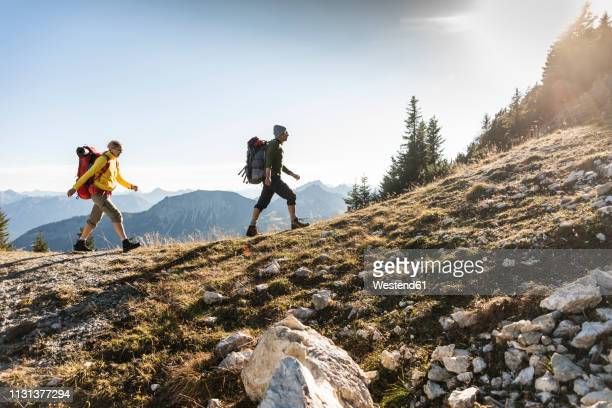 couple hiking in the austrian mountains - hiking stock pictures, royalty-free photos & images