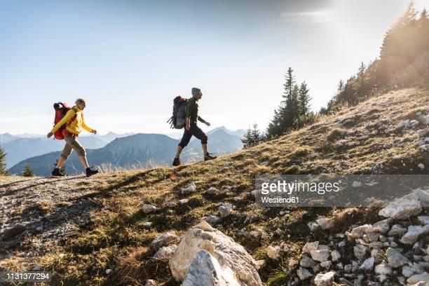 couple hiking in the austrian mountains - wandern stock-fotos und bilder