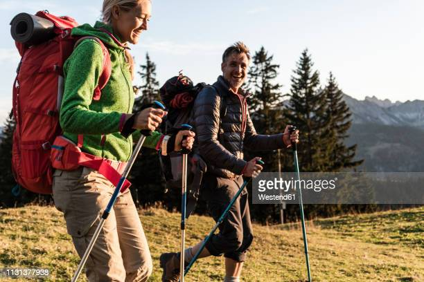 couple hiking in the austrian mountains - hiking pole stock pictures, royalty-free photos & images