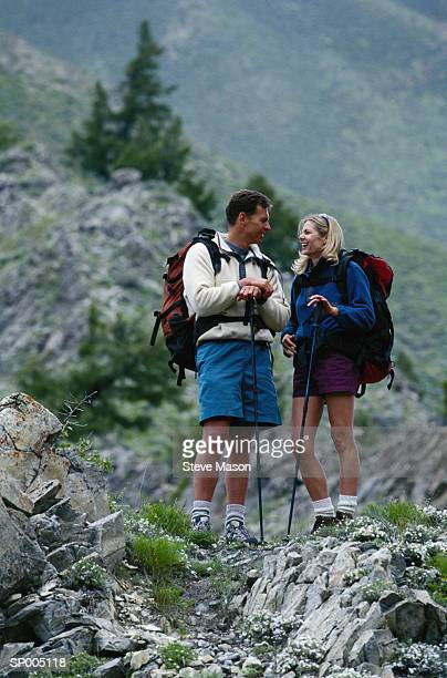 Couple Hiking in the Mountains