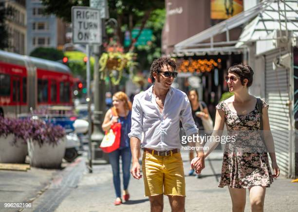 Couple Holding Hands in Downtown Los Angeles