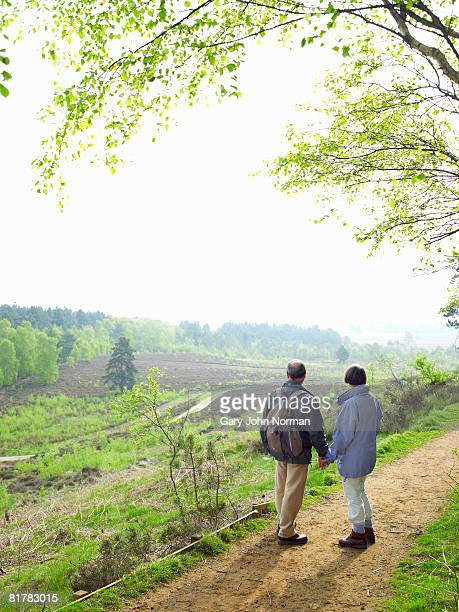 couple holding hands on footpath with view while hiking - king's lynn stock pictures, royalty-free photos & images