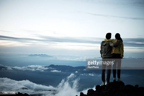 couple hugging at the mountain