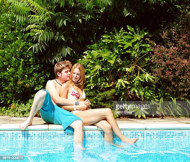 Couple Hugging by Pool