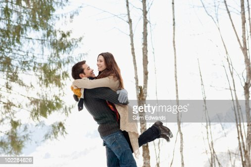 couple hugging in woods high res stock photo getty images