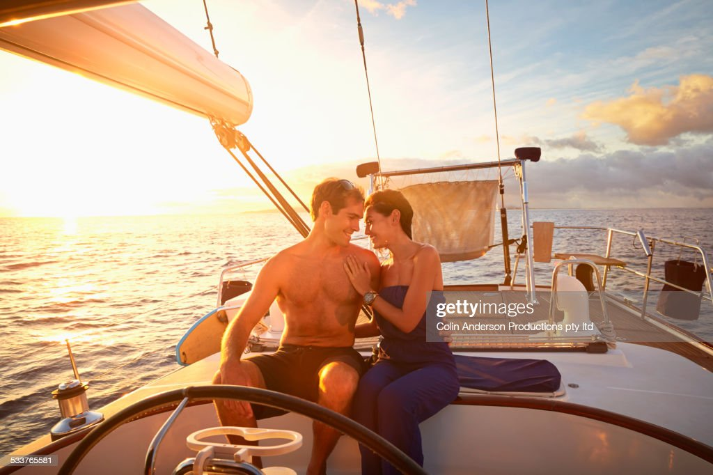 Couple hugging on yacht deck : Foto stock