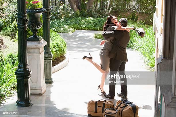 couple hugging outdoors - prayer pose greeting bildbanksfoton och bilder