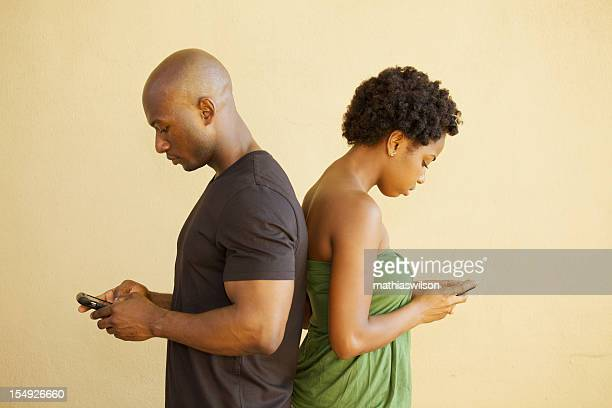 Couple Ignoring Each Other Texting