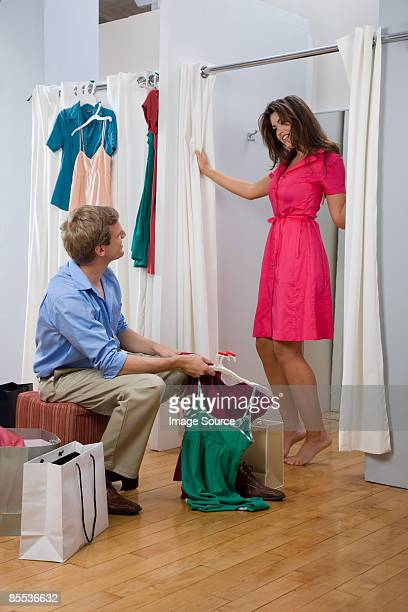 A couple in a changing room