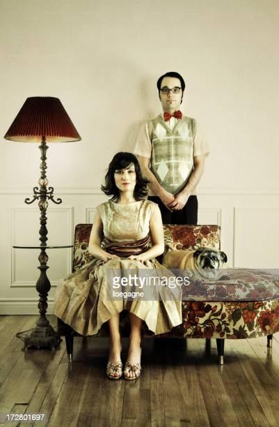 Couple in a Livingroom, posing