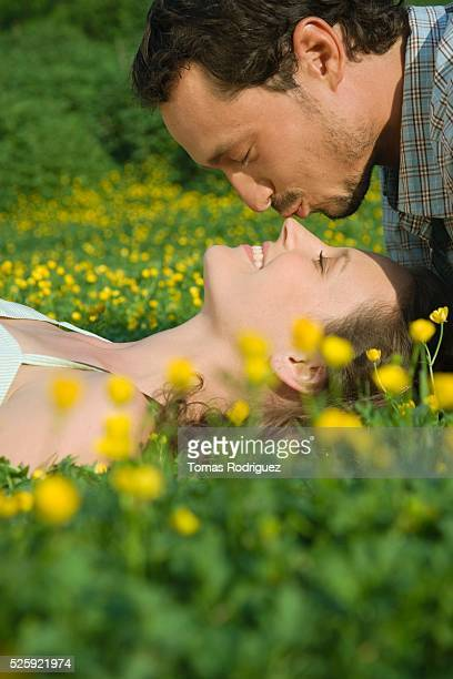 couple in a meadow - long nose stock photos and pictures