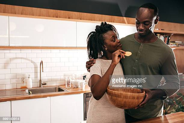 Couple in a new kitchen