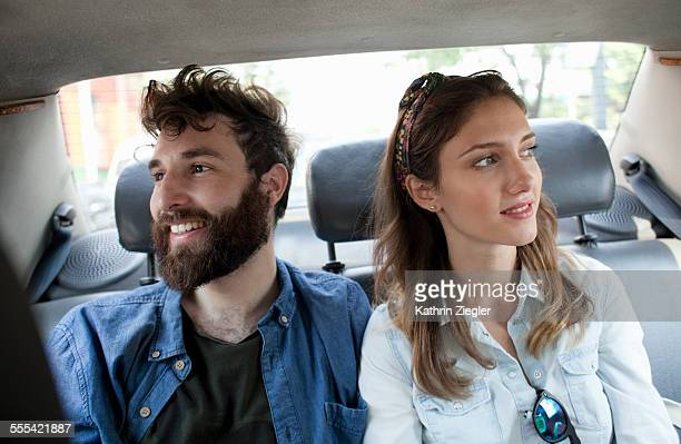 couple in a taxi