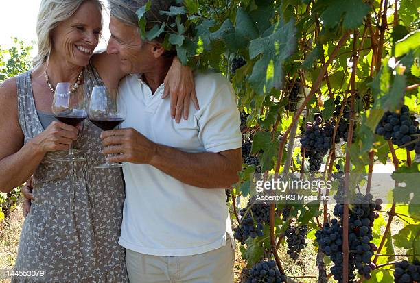 A couple  in a vineyard toast with wine glasses