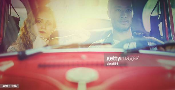 Couple in a vintage car