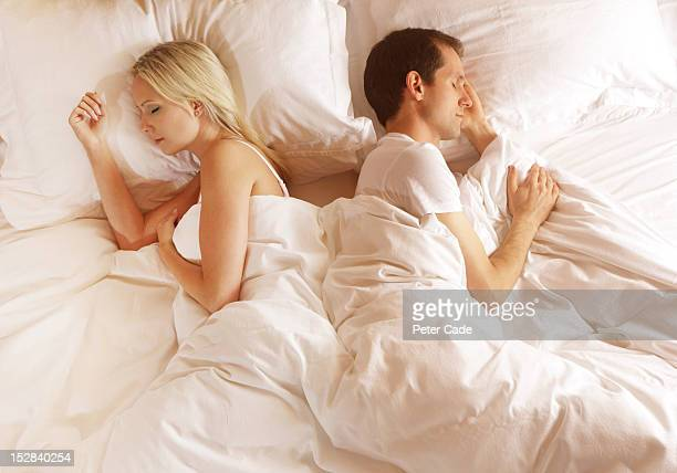 Couple in bed back to back