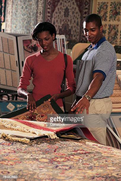 Couple in carpet store