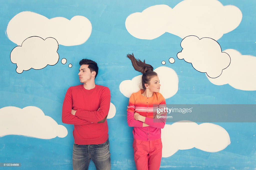 Couple in comic book: Arguing : Stock Photo