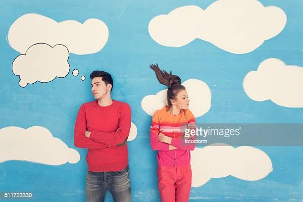 couple in comic book: arguing - relatieproblemen stockfoto's en -beelden