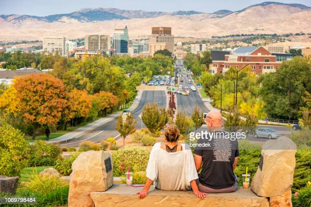 couple in downtown boise idaho usa - boise idaho stock pictures, royalty-free photos & images