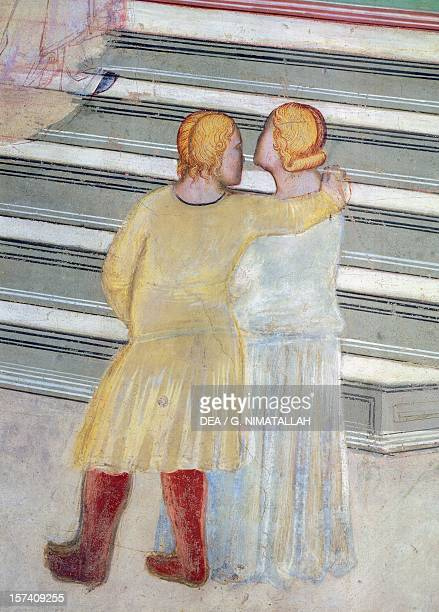 Couple in front of a staircase, detail from Presentation of Mary in the temple, fresco by Giovanni da Milano . Rinuccini Chapel, Santa Croce,...