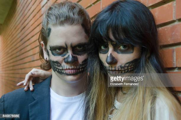 couple in halloween - halloween zombie makeup stock photos and pictures