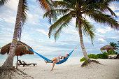 Couple in hammock on vacation