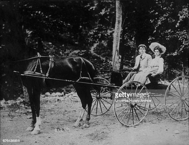 Couple in HorseDrawn Buggy Portrait circa 1900