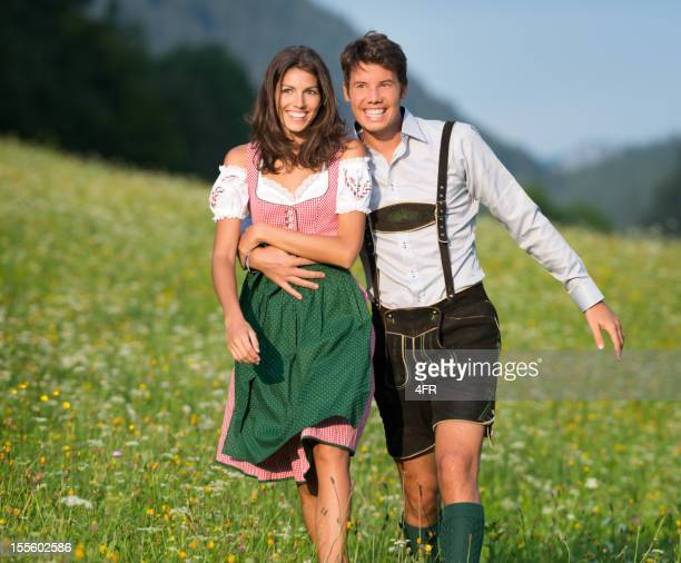 Couple in Lederhose and Dirndl walking through the Meadows (XXXL)