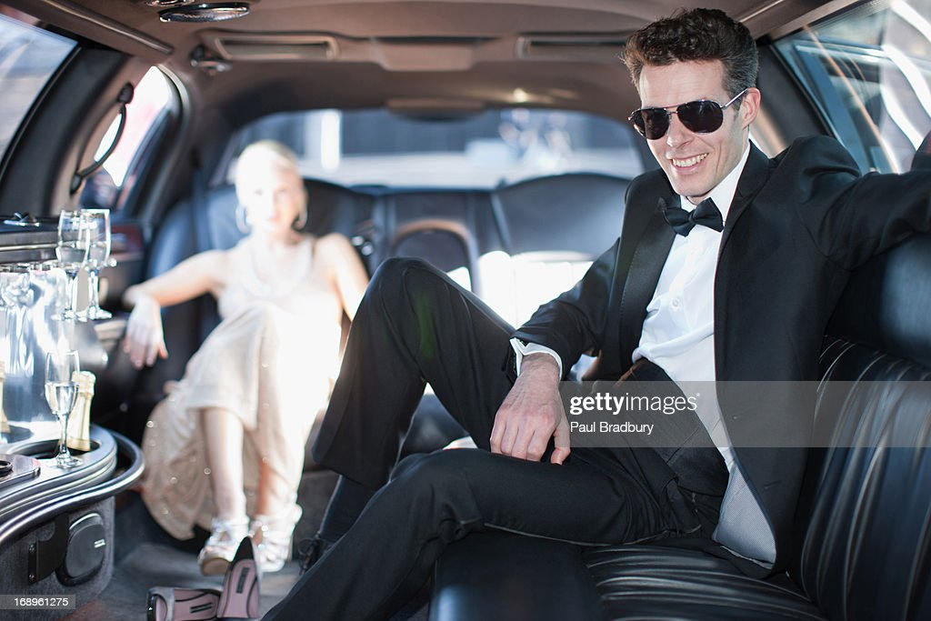 Couple in limo : Stock Photo