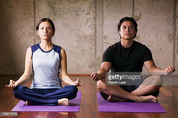 Couple in lotus position