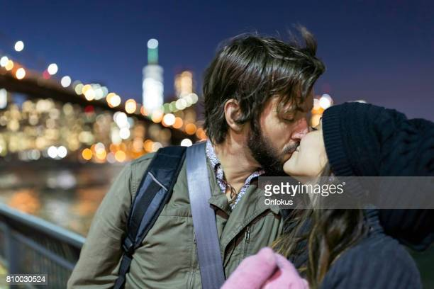 Couple in Love by the Brooklyn Bridge, New York City