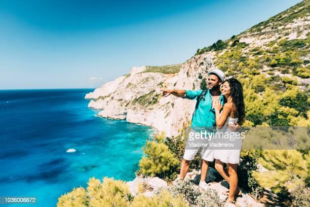 Couple in love enjoying summer vacation