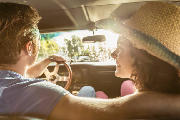 Couple in love in vintage car