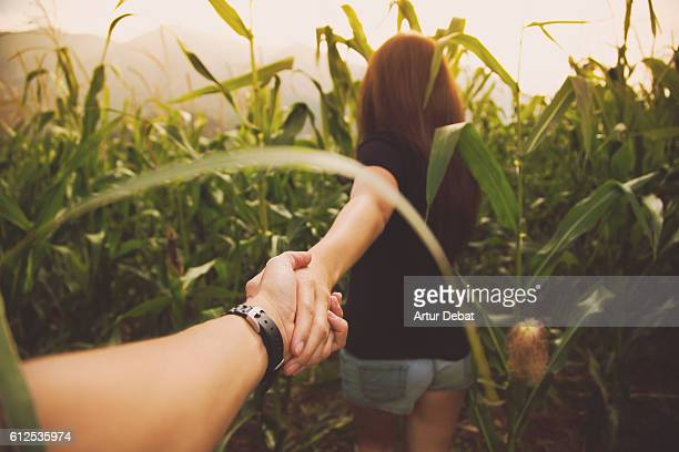 Couple in love walking on summer inside a corn field with the girl leading the way inside the maze holding hands and the picture is taken from the personal perspective of boyfriend during beautiful sunset in the Catalan Pyrenees. Follow me.