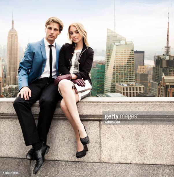 couple in new york rooftop - formal stock pictures, royalty-free photos & images