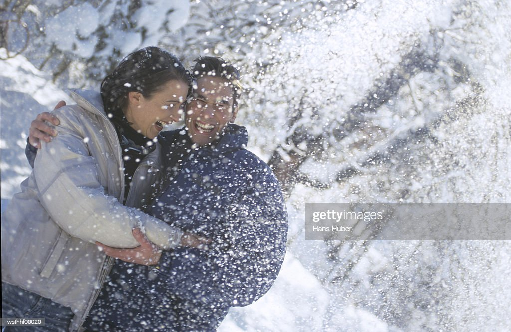 Couple in snow : Stock Photo