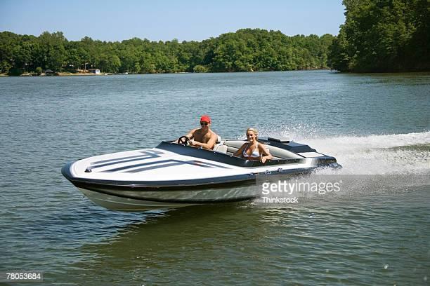 Couple in speedboat