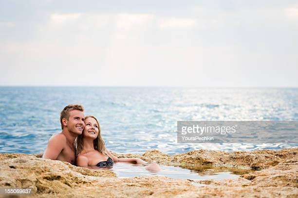 Couple in stone bath