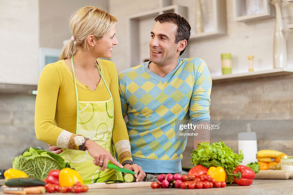 Couple in the kitchen. : Stock Photo