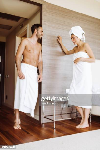 couple in the room after the spa - couples showering stock pictures, royalty-free photos & images